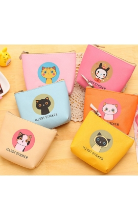 Cat Lovers PU Coin Storage Box , Coin Purse