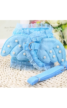 Adorable Pearl Angel Wings Harness With Matching Lead Light Blue