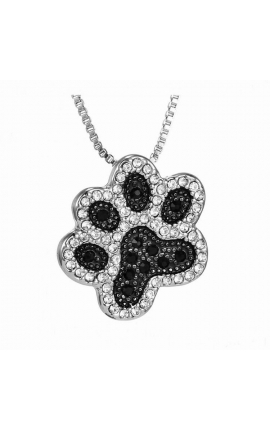 Pet Lovers Lovely Pet Paw Black Crystal Pendant Necklace For Women