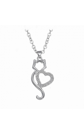 Cat Lovers Lovely 1 Cat On Heart Crystal Pendant Necklace For Women