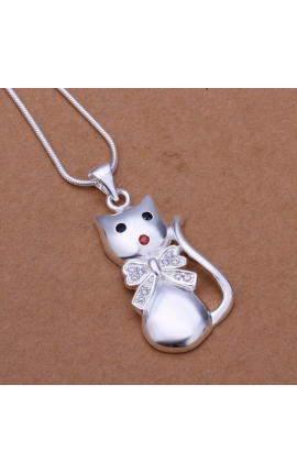 Cat Lovers Necklace Silver Plated Jewelry Cat Shape