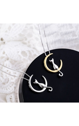 Cat Lovers Fashion Cat Moon Pendant Necklace