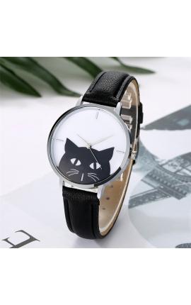 Cat Lovers Fashion Watch Women Cute Cat Pattern