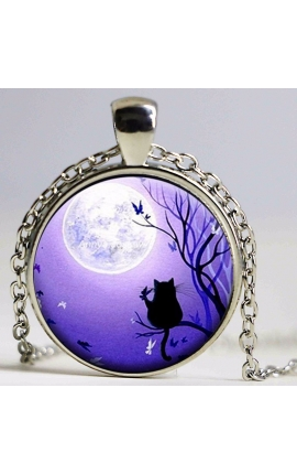 Cat Lovers Cute Cat Glass Pendant Necklace