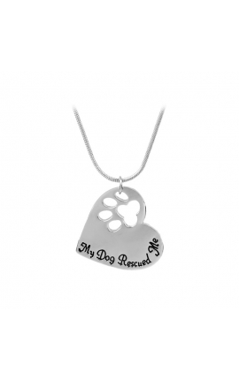 """Dog Lovers Trendy Dog Paw Pendant Necklace """"My Dog Rescued Me"""""""