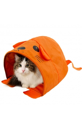 Cat Cute Design Tunnel Orange Color Tent
