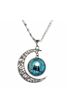 Cat Lovers Blue Moon and Cat Glass Necklace