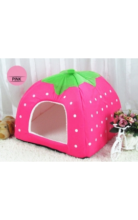 Cute Cave Foldable Strawberry Pet Bed (Pink)