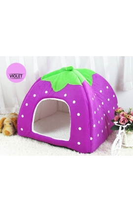 Cute Cave Foldable Strawberry Pet Bed (Purple)