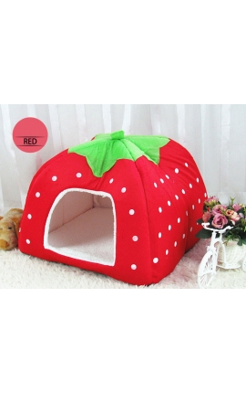 Cute Cave Foldable Strawberry Pet Bed (Red)