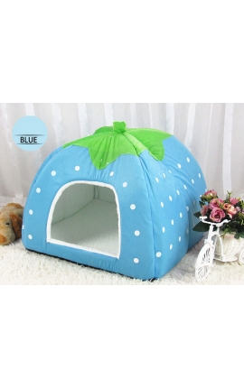 Cute Cave Foldable Strawberry Pet Bed (Light Blue)