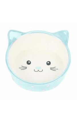 Happy Pet Polka Cat Bowl Blue