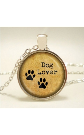 Dog Lovers Cute Cat Glass Pendant Necklace