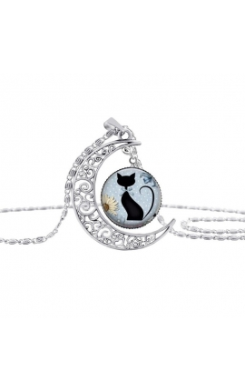 Cat Lovers Fashion Black Cat Necklace Pendant Glass