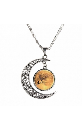 Cat Lovers Moon and Cat Glass Necklace