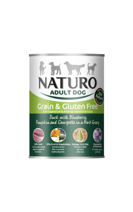 Naturo Dog, Grain Free Duck, Blueberries, Pumpkin, Herbs, 390gr Can
