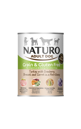 Naturo Dog, Grain Free Turkey, Cranberries, Broccoli, Carrots, Herbs, 390 Can
