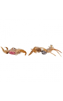 Flamingo Cat Leopard Dangler With Feathers