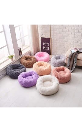 Pet Fluffy Long Plush Round Bed 60 cm