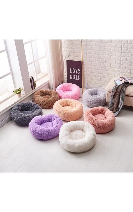 Pet Fluffy Long Plush Round Bed 60 cm
