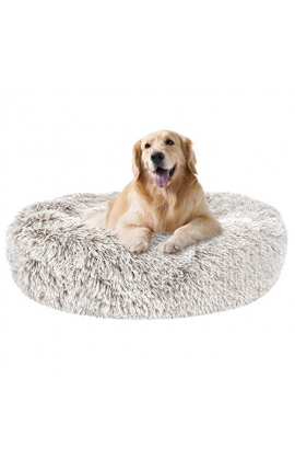 Pet Fluffy Long Plush Round Bed 70 cm