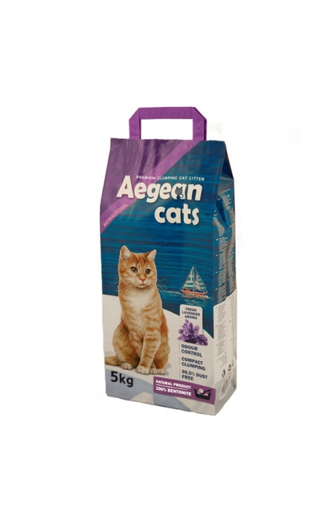 Aegean Cats Άμμος Υγιεινής για Γάτες 5kg - Άρωμα Λεβάντας