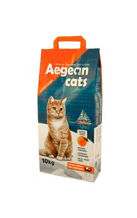 Aegean Cats Άμμος Υγιεινής για Γάτες 10kg - Άρωμα Πορτοκάλι