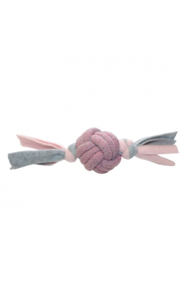 Happy Pet Little Rascals Fleecy Rope Ball Tugger Pink